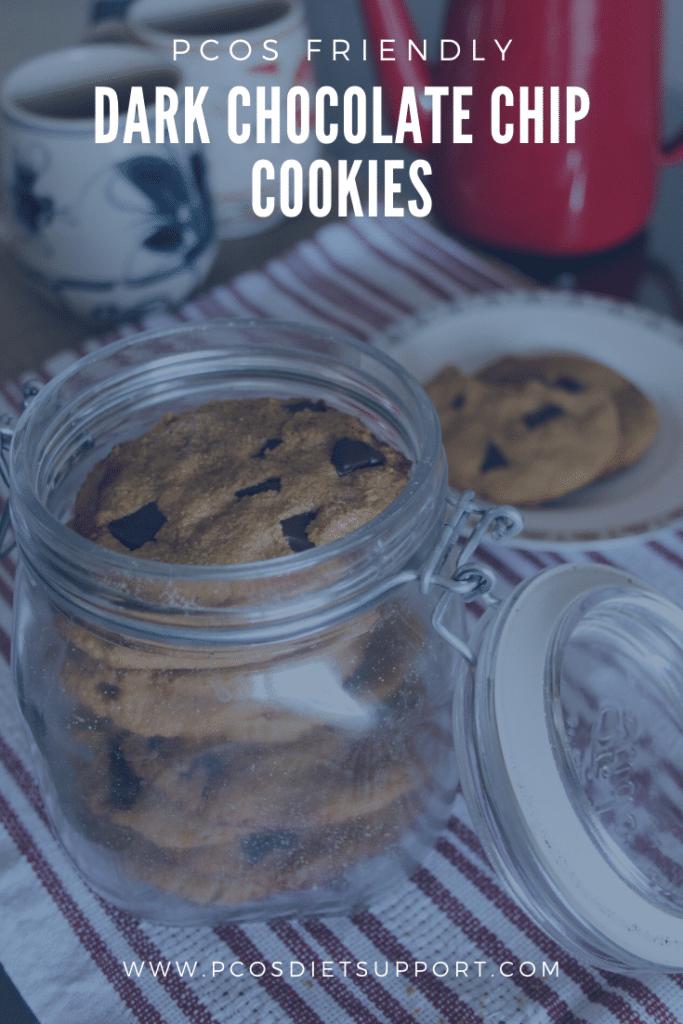 PCOS friendly dark chocolate chip cookies pinterest