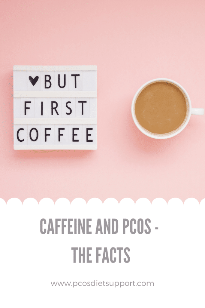 pcos and caffeine coffee cup pinterest image