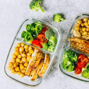Healthy food in two lunch boxes - meal prep