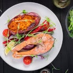 baked salmon and baked sweet potato