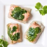 Salmon Spring Roll on white plate garnished with coriander